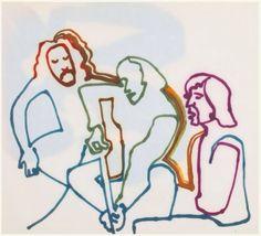 """mylonesomeblues: """" Joni Mitchell's sketch of Crosby, Stills and Nash, 1969. """""""