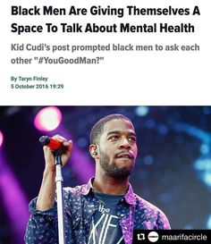 This is why I do my job- to be part of these kinds of healing conversations. Let's change the rules for men (& minorities in general) ask each other and really listen to the answer. #mentalhealthmatters and helping someone can be as simple as asking #yougoodman?  #Repost @maarifacircle with @repostapp  Kid Cudi shared that he istreating his anxiety and depressionon Tuesday and his words have resonated with many. My anxiety and depression have ruled my life for as long as I can remember and I…
