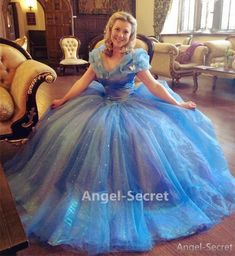 P143N Movies Cosplay Costume WITHOUT PETTICOAT Cinderella 2015