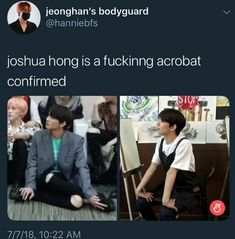 I sit like that too sometimes but it doesn't look that weird 'cause I have bigger thighs but I can't do the arm thing nope Woozi, Jeonghan, Wonwoo, The8, Seungkwan, Joshua Seventeen, Seventeen Memes, Seventeen Debut, Funny Kpop Memes