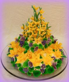 Mother's Day - Tiramisu cake with flowers made of modeling chocolate. Daffodils, violets and forsythia are the symbols of spring for me.
