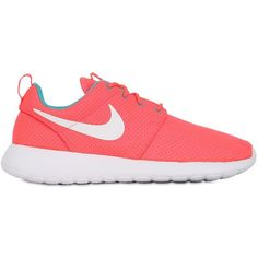 NIKE Roshe Run Polka Dot Running Sneakers - Pink ($94) ❤ liked on Polyvore featuring shoes, sneakers, nike, zapatos, 19. shoes., pink, eyelets shoes, pink polka dot shoes, dot shoes and pink shoes