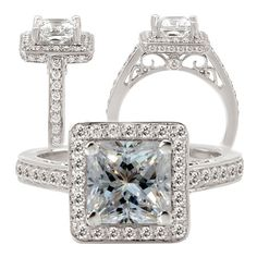 18K white gold diamond engagement ring semi-mount, holds 6mm princess cut . Yes honey!