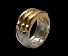 925 Solid Sterling Silver Atlantis Ring 24k Gold by Silveralexa, $110.00