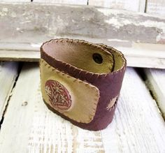 Leather bracelet with leather handmade ceramic by agatechristina, $21.00
