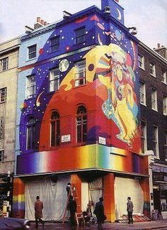 London | The Beatles' Apple Boutique  I love this.  It is too bad that the owners of ugly buildings don't allow street artists to do stuff like this to make our world more colorful and interesting. Of course there would need to be rules as to what is acceptable and what is not w/o quashing the creativity of the artist.