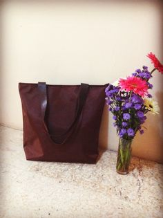 Totebag parachute brown colour with leather strap size 40 cm x 35 cm x 10 cm price IDR 180.000 cp: +62 81227800577