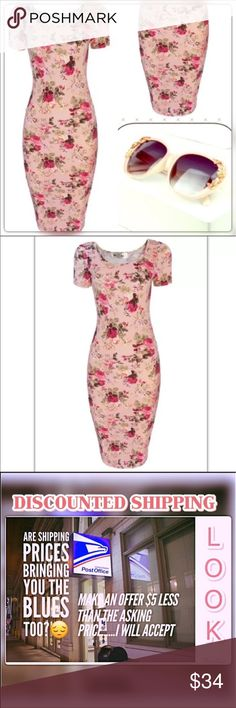 Vintage Floral Bandage Dress👗 🌸Very Classy Look 100% brand new and good quality, Material: Cotton Blend/ Polyester @roedarryl Dresses Midi