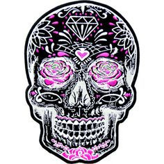 Black sugar skull embroidered with white and pink accents with pink roses for eyes. Day of the Dead patches and Sugar skull patches available in 2 sizes.
