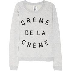Zoe Karssen Crème de la Crème cotton-blend terry sweatshirt ($125) ❤ liked on Polyvore featuring tops, hoodies, sweatshirts, sweaters, shirts, terry cloth sweatshirt, pattern shirts, patterned sweatshirts, patterned tops and terry cloth shirt