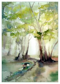 """Frühling im Wald / Aquarell auf Arches CP 28cm x 40cm """"Spring in the Woods"""" / Watercolour"""