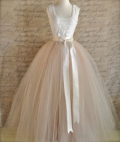 Full length champagne tulle skirt/dress #Weddings #formal wear -- sold by TutusChicBoutique via etsy (This item sold on November 21, 2012)