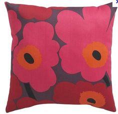 Marimekko Pienni Unikko II Caliente outdoor pillow from Crate and Barrel Sofa Pillows, Accent Pillows, Throw Pillows, Marimekko, Big Comfy Chair, Orange Pillows, Big Flowers, Spring Colors, Bohemian Decor
