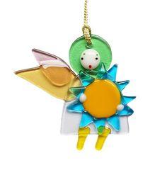 Angel and sun pendant (design 2) $9.00 #CatalogOfStElisabethConvent #StElisabethConventWorkshop #church #orthodoxchurch #gift #holidays #FusedGlass #GiftIdeas #presents #glass