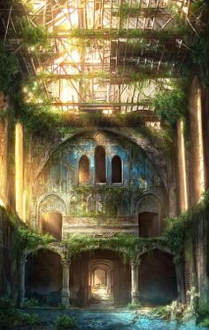 overgrown building