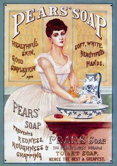 "Healthful skin, soft beautiful hands and all toilet, use Pears' Soap. - Board ""Art-Savons and Soaps"". Vintage Labels, Vintage Signs, Vintage Postcards, Vintage Ads, Vintage Makeup, Vintage Ephemera, Old Advertisements, Retro Advertising, Retro Ads"