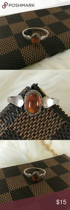 Gorgeous vintage silver ring Silver 925 amber stone  ring size 7 vintage piece vintage  Jewelry Rings