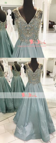 Gorgeous Beaded Top V-neck Scoop Back Sleeveless A-line For Teens Prom Dresses. DB1068