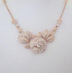 Swarovski Crystal Rose Necklace In Rose Gold or Silver