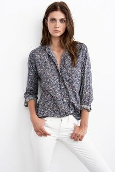 Neela Printed Cotton Voile Collared Shirt by Velvet