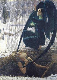 Carlos Schwabeカルロス・シュヴァーベ(1866ー1926)「Der Totengräber und der Todesengel(墓掘り人夫と死の天使)」(1890年代 象徴主義)