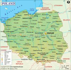 Map of Poland Poland Map, Poland Travel, Poland Food, Poland Facts, Word Map, Genealogy Sites, Family Genealogy, Polish Language, Divorce Papers