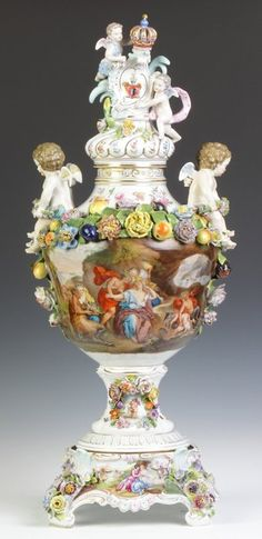 Dresden Porcelain Covered Urn With Hand Painted Scenes, Applied Flowers And Cherubs   c. 19th Century