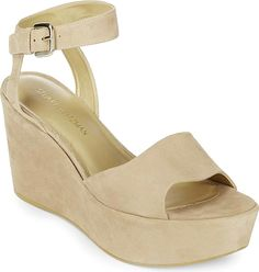 """Stuart Weitzman Women's Shoes in Beige Color. Leather wedge sandals with adjustable ankle strap. Wedge heel, 4.5"""" (115mm).Platform, 2"""" (50mm).Leather upper. Open toe. Adjustable ankle strap. Leather lining. Synthetic sole. Padded insole. Imported."""