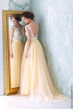 """Gorgeous wedding dress / Купить Свадебное платье """"Идиллия"""" - бежевый, лосось, цветное свадебное платье, свадебное платье на заказ"""