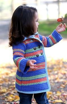 Darling Pea Coat Sweater: pattern for purchase Crochet Toddler Sweater, Diy Crochet And Knitting, Crochet Coat, Crochet Girls, Crochet Baby Clothes, Crochet For Kids, Baby Knitting, Crochet Pattern, Crochet Sweaters