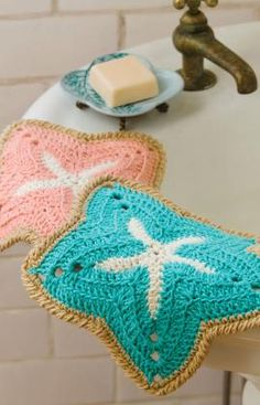 "Starfish Dishcloths by Red Heart.  Crochet level: Easy. Hook: 5mm (US H-8).  Coats brand yarn ""Creme De La Creme"": 1 ball Soft Ecru, 1 ball Aqua OR Tea Rose, 1 ball Tan."