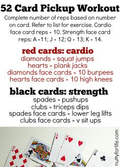 52 Card Pickup Workout [Deck of Cards Workout] (Nutty for Life) Fun Workouts, At Home Workouts, Workout Ideas, Workout Plans, Bootcamp Ideas, Bootcamp Games, Gym Games, Free Workout, Workout Exercises
