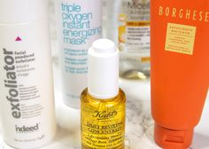Seasonal Skincare Switch-Ups For Autumn Feat. Kiehl's Daily Reviving Concentrate, Indeed Labs Facial Powdered Exfoliator, Borghese Gentle Exfoliating Cleanser, Garnier Oil-Infused Micellar Water & Bliss Triple Oxygen Instant Energising Mask