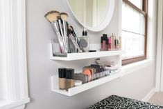 47 Cute Diy Bedroom Storage Design Ideas For Small Spaces - ROUNDECOR - Cute diy bedroom storage design ideas for small spaces 27 The Effective Pictures We Offer You About - Small Makeup Vanities, Small Vanity, Bathroom Vanities, Bedroom Makeup Vanity, Makeup Room Decor, Makeup Rooms, Vanity For Makeup, Beauty Vanity, Vanity Decor