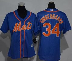 154725230 #Mets #34 Noah Syndergaard Blue Alternate #Women's Stitched #MLB #Jersey New