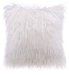Phantoscope Merino Style Faux Fur Series Decorative Throw Pillow, x White, 1 Pack White Fluffy Pillow, Fluffy Pillows, White Pillows, White Fluffy Cushions, Diy Throw Pillows, Throw Pillow Cases, Fur Throw, Decorative Pillow Covers, Decorative Throw Pillows