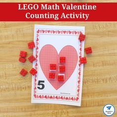 LEGO Math Valentine Counting Activity with Free Printable Work Mats Kindness Activities, Lego Activities, Printable Activities For Kids, Counting Activities, Preschool Learning Activities, Valentines Day Activities, Preschool Activities, Number Activities, Holiday Activities