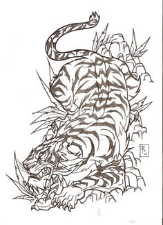 beautiful-outline-tiger-japanese-tattoo-sketch.jpg (900×1238)