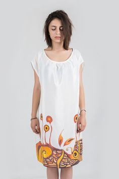 Summer silk tunic . Hand painted silk tunic brown and yellow