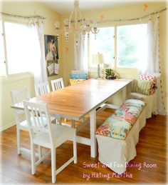 This dining room update cost less than $90!  And there's a great tutorial for that gorgeous bench!  #DIY #diningroom