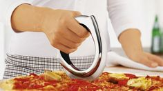 Thanks to the innovative, patent construction with a rounded, free-running blade, the pizza wheel glides quickly through the fresh pizza, without causing the topping[s] to displace. The stable, stainless steel blade is sharpened on both sides and assures exact and effortless work. The pizza wheel can be easily dismantled for cleaning.