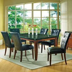 Bundle-05 Steve Silver Furniture Granite Bello Dining Set (9 Pieces)