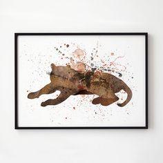 Splash print. Puma poster. Watercolor decor. Animal print.    Printed on high quality art paper.    SIZES:    8.3 x 11.7 (A4)  11.7 x 16.5 (A3)