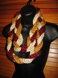 Gold Burgundy Cream Infinity Scarf  Warm by TheLittleBarntique, $14.95
