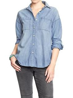 Womens Boyfriend Chambray Shirts Very popular.  Wear unbuttoned with layering piece underneath