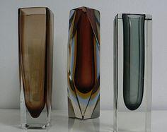 Murano Glass Vases Sixties | ... murano ma ndruzzato sommerso flavio poli brown art glass block vase