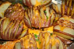 Baked Hasselback Potatoes with Garlic Infused olive oil