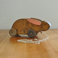 vintage wooden rabbit pull toy