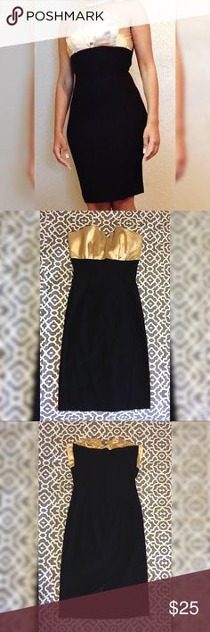 """Gold and Black Dress Only worn once! In good condition! Length of dress is around 31"""". Papaya Dresses"""