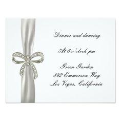 Diamond Bow Wedding Reception Card Announcement http://www.zazzle.com/diamond_bow_wedding_reception_card_announcement-161484075366963700?printquality=4color&rf=238271513374472230  #wedding